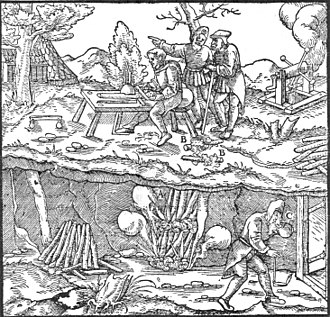 Illustration - An engraving by Georgius Agricola or Georg Bauer (1494–1555), illustrating the mining practice of fire-setting