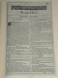 Faksimiler af første side i Skide You Lige it fra First Folio, publiceret i 1623