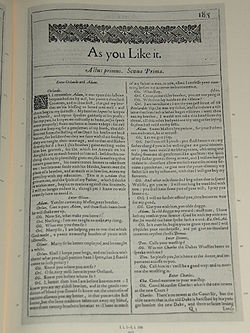 Facsimile of the first page of As you like it, by William Shakespeare