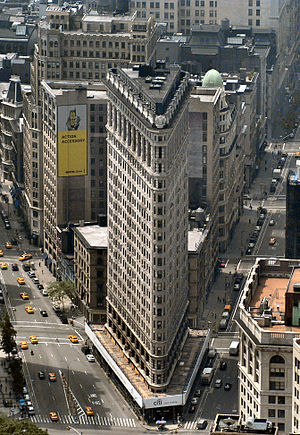 23rd Street (Manhattan) - The famous Flatiron Building sits on the intersection of 23rd Street (front), Broadway (left), and 5th Avenue (right)