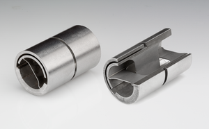 Flexure bearing - Image of a flexure pivot, utilized in place of bearings for their frictionless properties in precision alignment mechanisms and scientific instruments.