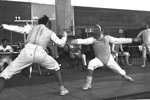 Maccabiah sports - A Fencing match between an Israeli and a Dutch opponent during the 7th Maccabiah.