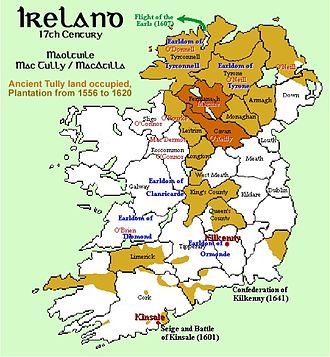 Plantations of Ireland - A more detailed map of the areas subjected to plantations