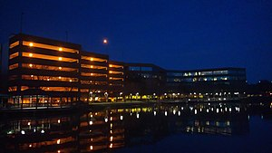 Florida Coastal School of Law - The lakeside of FCSL at night
