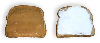 Fluffernutter - Showing bread slices with peanut butter and marshmallow creme prior to their being combined into a Fluffernutter sandwich.