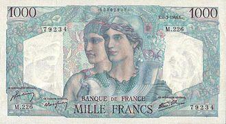 Clément Serveau - 1000 francs Minerve et Hercule, Artwork Clément Serveau, engraved by André Marliat and Ernest-Pierre Deloche, France, 1945