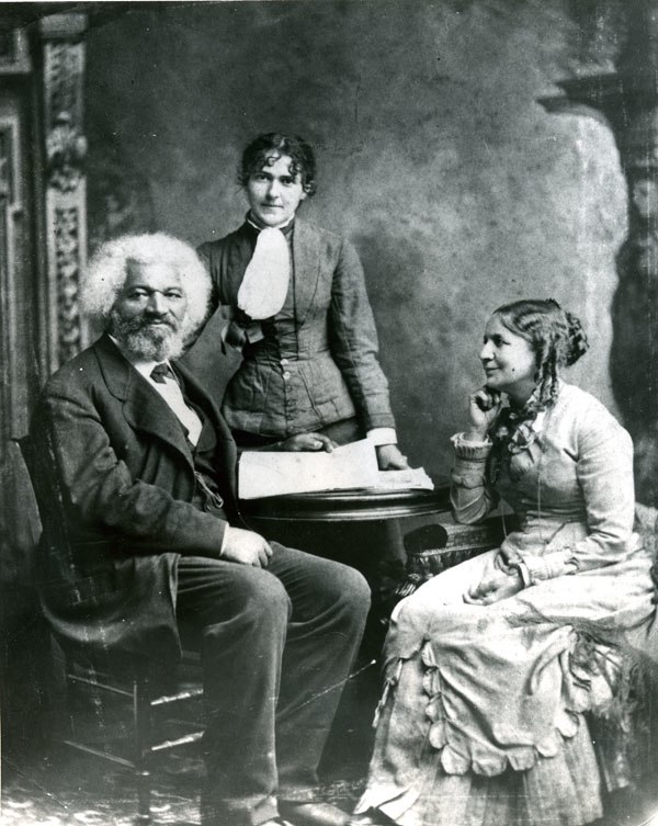 Frederick Douglass with Helen and Eva Pitts