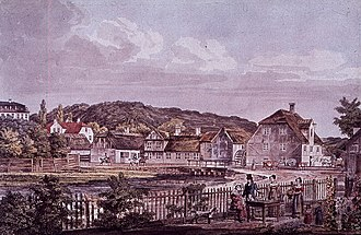 Frederiksdal House - Frederiksdal Watermill painted by H.G.F. Holm in 1838garden