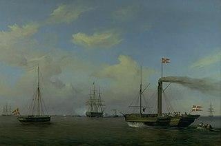 Den danske eskadre til ankers på Warnemünde rhed. Deres kongelige højheder kronprinsen og kronprinsessen ankommer på dampskibet \