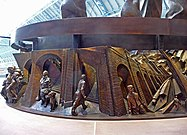 Frieze round The Meeting Place sculpture, St Pancras - geograph.org.uk - 1618196.jpg