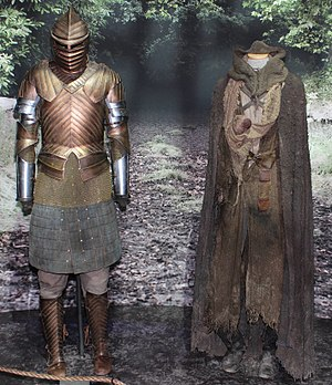 Brienne of Tarth - Functional weapons and armor, like Brienne of Tarth's (left), were manufactured for the series.
