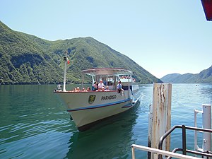 Lake Lugano - One of SNL's passenger boats arriving at Gandria