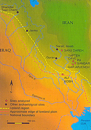 Prehistory of Iran - Map showing location of Ganj Dareh and other early Neolithic sites in western Zagros.