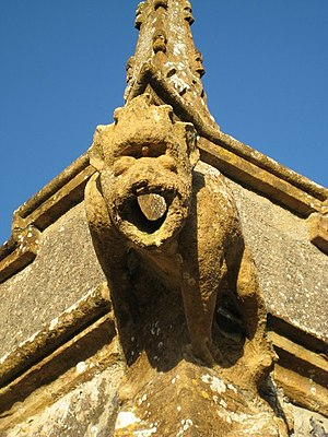 Sydling St Nicholas - One of the gargoyles on the parish church