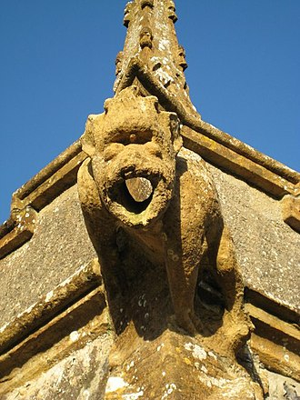Sydling St Nicholas - One of the gargoyles on the parish church