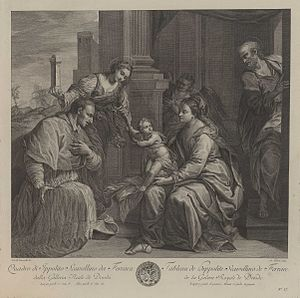 Étienne Fessard - The Holy Family, with St. Charles Borromeo; after Scarsellino, ca. 1750