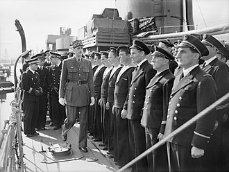 General De Gaulle inspecting sailors on Leopard in June 1942 General De Gaulle inspecting sailors on the Free French ship LEOPARD at Greenock, 24 June 1942. A10354.jpg