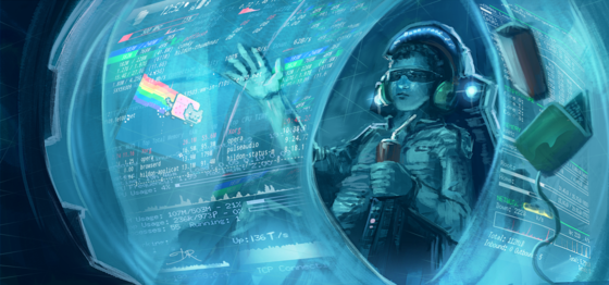 A person reading from a futuristic wraparound display screen Genghis-jones-pod-active mango concept-art 02.png