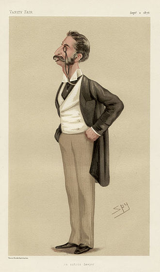 """Sir George Lewis, 1st Baronet - """"an astute lawyer"""". Caricature by Spy published in Vanity Fair in 1876."""