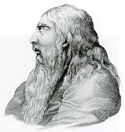 Monochrome profile of elderly George with a long white beard