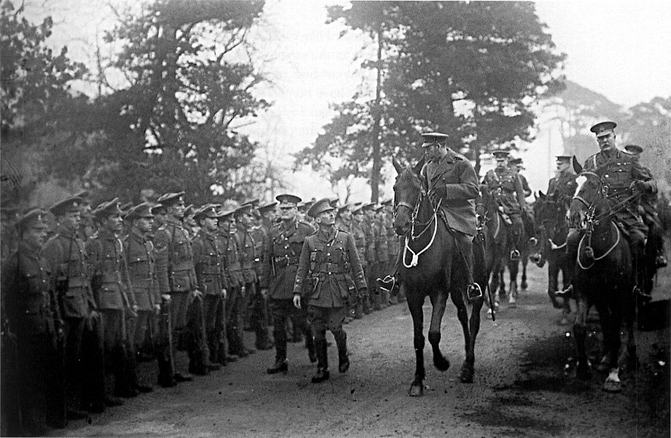 King George V inspecting the British 29th Division prior to the division's departure for Gallipoli in 1915. The division commander, Major General Aylmer Hunter-Weston, rides alongside the King at the right of the photo.