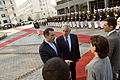 Georgian Minister of Defense Irakli Alasania, left, introduces U.S. Secretary of Defense Chuck Hagel to senior defense ministry official during a ceremony in Tbilisi, Georgia, Sept 140907-D-NI589-696.jpg