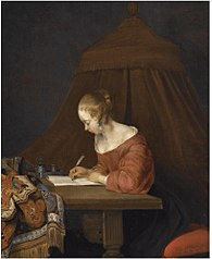A Young Lady Writing at her Desk