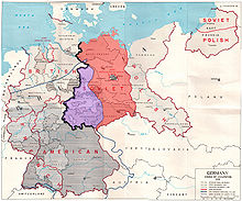 Map showing the Allied zones of occupation in post-war Germany, as well as the line of U.S. forward positions on V-E Day. The south-western part of the Soviet occupation zone, close to a third of its overall area was west of the U.S. forward positions on V-E day.