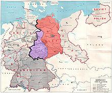 Mapa que muestra las zonas de ocupación aliadas en Alemania de la posguerra