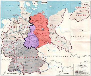 Map showing the Allied zones of occupation in post-war Germany, as well as the line of U.S. forward positions on V-E Day. The south-western part of the Soviet occupation zone, close to a third of its overall area, was west of the U.S. forward positions on V-E day and is marked in purple; the other two-thirds of the Soviet occupation zone are marked in red.