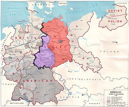 The Allied zones of occupation in post-war Germany, highlighting the Soviet zone (red), the inner German border (heavy black line) and the zone from which British and American troops withdrew in July 1945 (purple). The provincial boundaries are those of Nazi Germany, before the present Lander (federal states) were established. Germany occupation zones with border.jpg