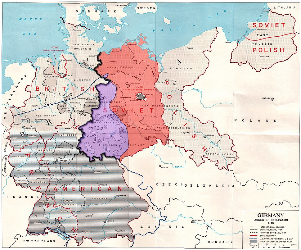 Germany occupation zones with border