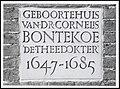 Gevelsteen van Verdronkenoord 35 het geboortehuis van Dr. Cornelis Bontekoe. - FO 1012682 - RAA Elsinga.jpg