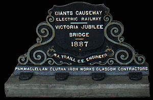 Giant's Causeway Tramway - Plaque from Electric Railway