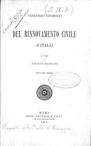Vincenzo Gioberti - Del rinnovamento civile d'Italia, 1911