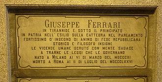 Giuseppe Ferrari (philosopher) - Ferrari's grave at the Monumental Cemetery of Milan, Italy