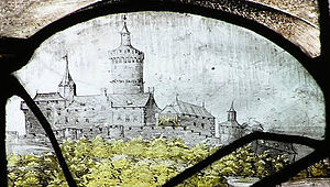 Siege of Godesberg - The Godesburg before its destruction, as depicted on a church stained-glass window circa 1500. This drawing is believed to be the only surviving detailed picture of the castle as it looked before its destruction. The image shows the structure as seen from the north; St. Michael's Chapel is visible on the right, in the foreground