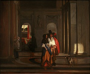 Pieter de Hooch - Going for a Walk in the Amsterdam Town Hall (aka Départ pour la promenade) – c. 1663–65 oil on canvas, Musée des Beaux-Arts de Strasbourg