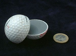 Polybutadiene - A cross section of a golf ball; its core consists of polybutadiene