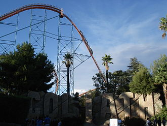Six Flags Magic Mountain - The opening drop on Goliath. Goliath featured the longest drop on a closed circuit roller coaster when it opened in February 2000.