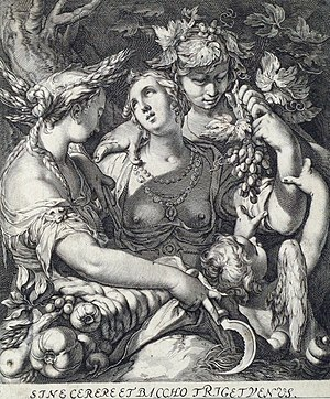 Hubert Goltzius - Sine Cerere et Baccho friget Venus, (Venus grows cold without Ceres and Bacchus), etching
