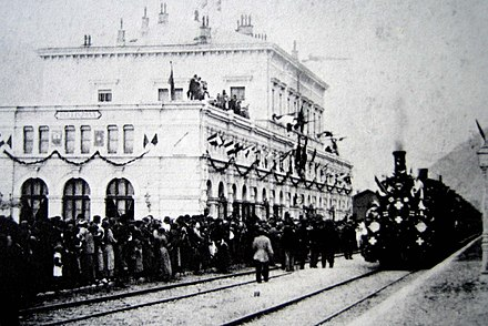 Inauguration in 1882 of the Gotthard Rail Tunnel connecting the southern canton of Ticino, the longest in the world at the time Gotthard Eroffnungszug Bellinzona.jpg