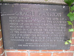 Gracie Mansion - Landmark plaque.