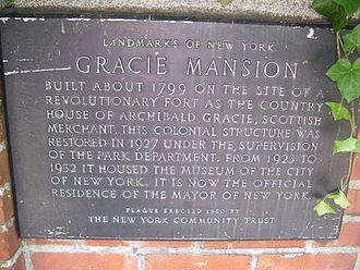 Gracie Mansion - Landmark plaque