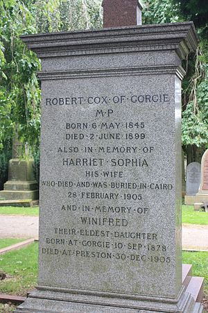 Robert Cox (politician) - grave of Robert Cox MP, Dean Cemetery