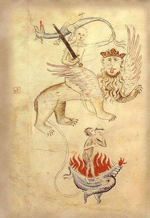 Late Middle Ages - From the Apocalypse in a Biblia Pauperum illuminated at Erfurt around the time of the Great Famine. Death sits astride a lion whose long tail ends in a ball of flame (Hell). Famine points to her hungry mouth.