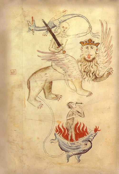 From the Apocalypse in a Biblia Pauperum illuminated at Erfurt around the time of the Great Famine. Death sits astride a lion whose long tail ends in a ball of flame (Hell). Famine points to her hungry mouth. Great famine.jpg