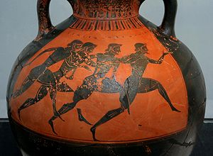 Panathenaic Games - Greek vase depicting runners at the Panathenaic Games c. 530 BC