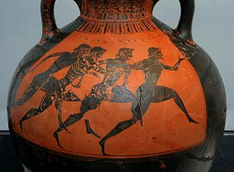 Panathenaic Games - Greek vase depicting runners at the Panathenaic Games c. 530 BC