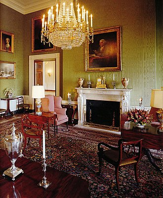 Green Room (White House) - The Green Room looking northeast during the administration of Bill Clinton. On top of the mantelpiece a French Empire mantel clock depicting Hannibal.
